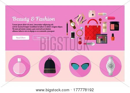 Flat design of web header template with flat icons of beauty and fashion. Modern vector illustration concept for websites. Ingographics vector illustration