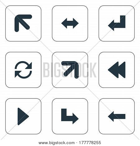 Vector Illustration Set Of Simple Arrows Icons. Elements Right-Up, Refresh, Left Direction And Other Synonyms Right, Up And Arrow.