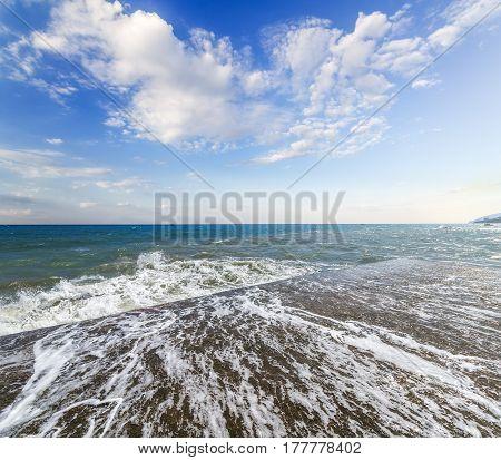 wave pebbles \ wave pebbles photo taken on the shore of Alushta Crimea