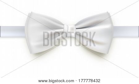 Realistic white bow tie, vector illustration, isolated on white background. Elegant silk neck bow.