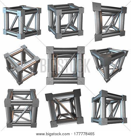 Steel truss girder cube element set. 3d render isolated on white
