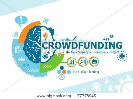 Crowdfunding Related Words And Brain Concept. Infographic Business.