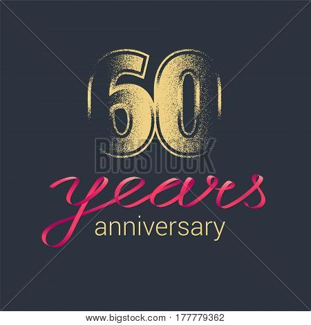 60 years anniversary vector icon logo. Graphic design element with golden glitter stamp for decoration for 60th anniversary