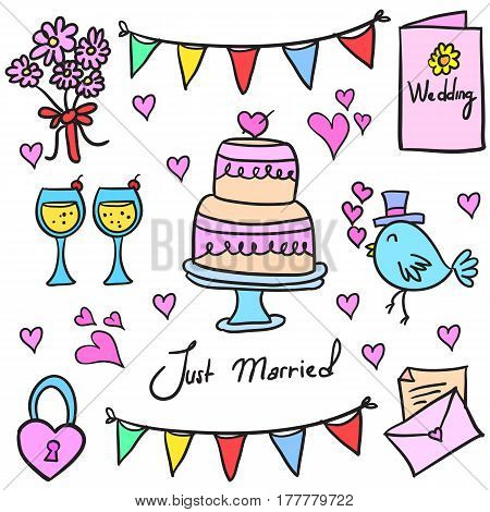 Collection stock of wedding party in doodles vector art