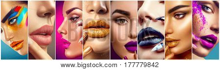 High Fashion model make up collage. Beauty makeup artist ideas. Colorful lips, eyes, eyeshadows and nail art. Beautiful women parts of face. Vivid bright make-up, lipstick, nailpolish for party