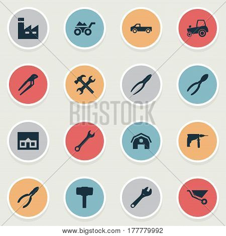 Vector Illustration Set Of Simple Build Icons. Elements Home, Cutters, Carpentry Equipment And Other Synonyms Adjustable, Drill And Manufacture.