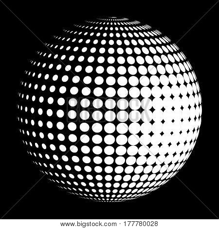 Vector halftone sphere stylized logo. Dotted orb design element on black.