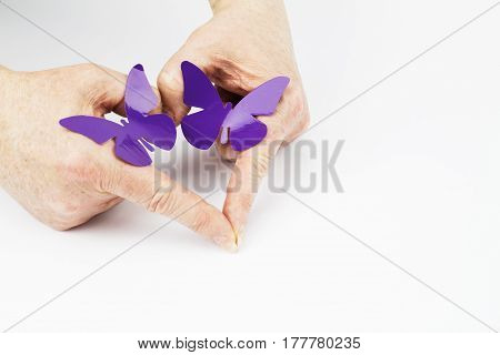 Fibromyalgia Awareness Hand Heart with Purple Butterflies