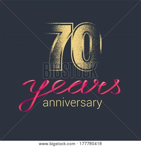 70 years anniversary vector icon logo. Graphic design element with golden glitter stamp for decoration for 70th anniversary