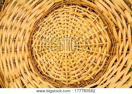 Close up of braided basket textured background.