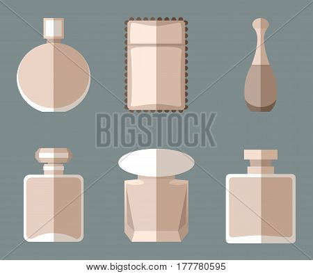 Set of simple vintage beige perfumery flat icons with long shadows on grey background vector illustration