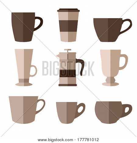 Set of simple monochrome coffee cups and french press flat icons on white background vector illustration