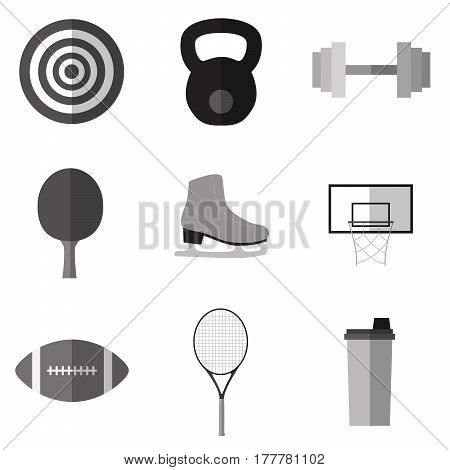 Set of simple monochrome sport equipment  flat icons on white background vector illustration