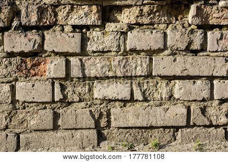 High resolution texture of part of obsolete brick wall