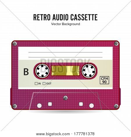 Retro Audio Cassette Vector. Detailed Retro C90 Audio Cassette Place For Title