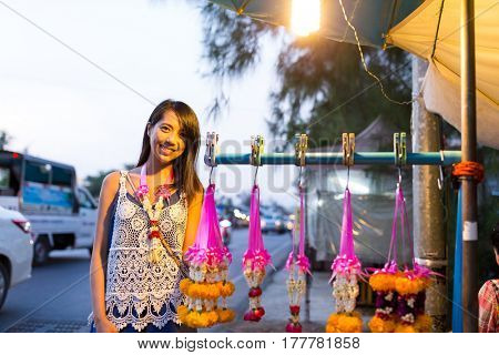 Woman shopping at hawker in thailand
