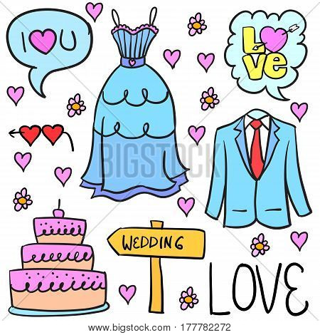 Collection stok of wedding element doodles vector flat