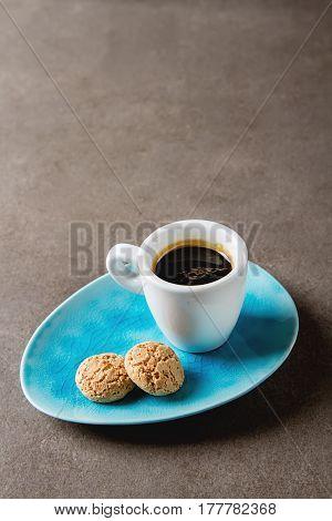 Italian Homemade Espresso Coffee In A White Mug. Dark Background