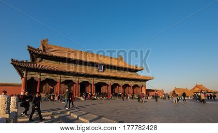 Beijing, China - Circa November 2014 - A shot of one of the buildings in Forbidden City complex, Beijing, China