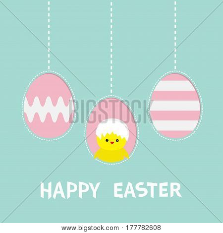 Happy Easter text. Three painting egg. Hanging painted egg set. Chicken baby bird with shell. Dash line. Greeting card. Flat design style. Cute decoration element. Vector illustration