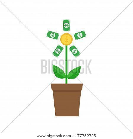 Growing paper money tree coin with dollar sign Plant in the pot. Financial growth concept. Successful business icon. Flat design. White background. Isolated. Vector illustration