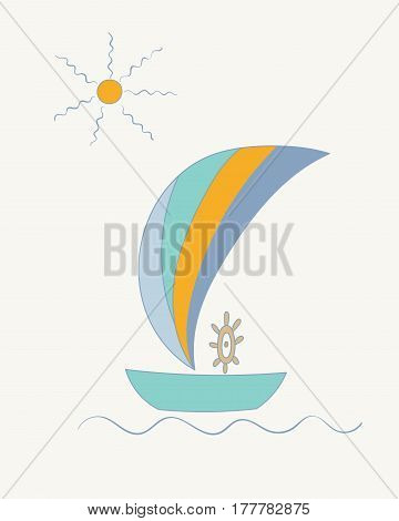 Hand drawn vector illustration of a striped sailing ship with a steering wheel under the sun.