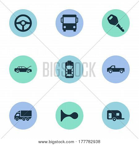 Vector Illustration Set Of Simple Automobile Icons. Elements Klaxon, Tour Bus, Caravan And Other Synonyms Truck, Repair And Siren.