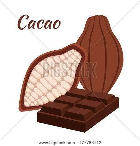 Chocolate bar with cacao seed and fruit. Sweet milky product. Flat style