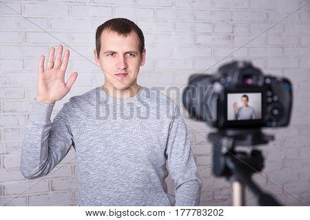 Man Blogger Recording Video At Home