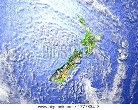 New Zealand On Realistic Model Of Earth