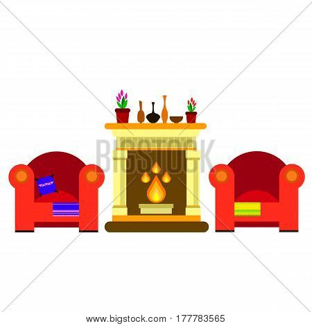vector, chair, sofa, furniture fireplace, home, vector, fire hearth, indoor, style, year, decor, flame, traditional
