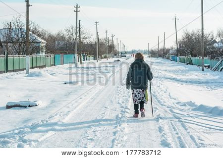 Back view of elderly woman in warm clothes walking in winter countryside with stick