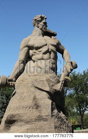 Volgograd Russia August 28 2013 Figure of soldier symbol of fighters and defenders of Stalingrad. Stalingrad battle Mamayev Kurgan.