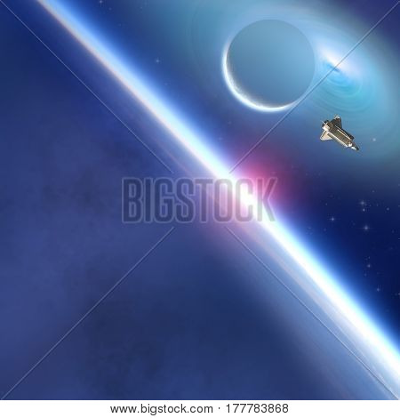 Space shuttle flying in Earth's orbit. 3D render / illustration.