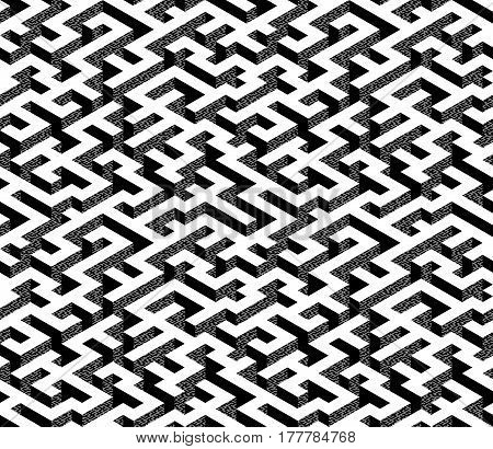 Isometric Maze with white path and textured black and grey edges. Endless labyrinth. Seamless pattern for background, design, print and textile. Vector illustration. 3d effect.