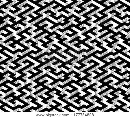 Isometric Maze with black path and textured white and grey edges. Endless labyrinth. Seamless pattern for background, design, print and textile. Vector illustration. 3d effect.