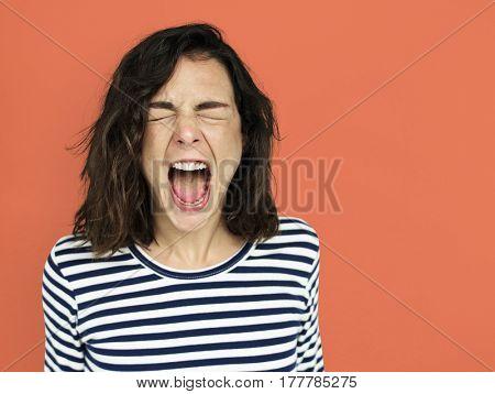 Caucasian White Girl Screaming Mad