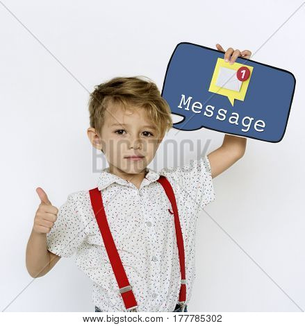 Young boy holding network graphic overlay banner
