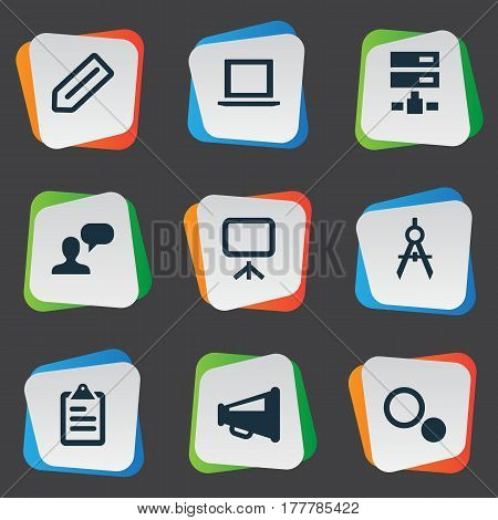 Vector Illustration Set Of Simple Web Icons. Elements Laptop, Board, Blueprint And Other Synonyms Badge, Sharing And Opinion.