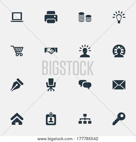 Vector Illustration Set Of Simple Commerce Icons. Elements Chatting, Password, Nib And Other Synonyms Handshake, Currency And Key.