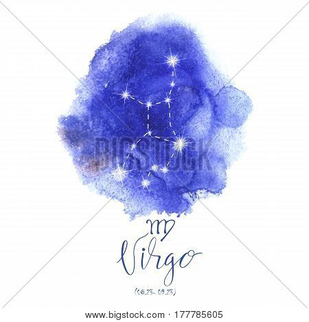 Astrology sign Virgo on blue watercolor background with modern lettering. Zodiac constellation with  shiny star shapes. Part of zodiacal system and ancient calendar. Hand drawn horoscope illustration. Part of big collection