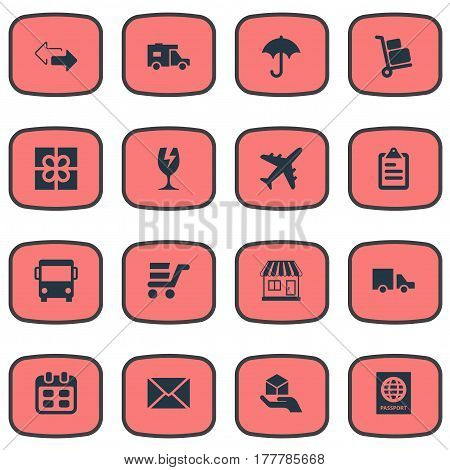 Vector Illustration Set Of Simple Delivery Icons. Elements Hand , Day , Caravan Synonyms Hand, Passport And Arrow.