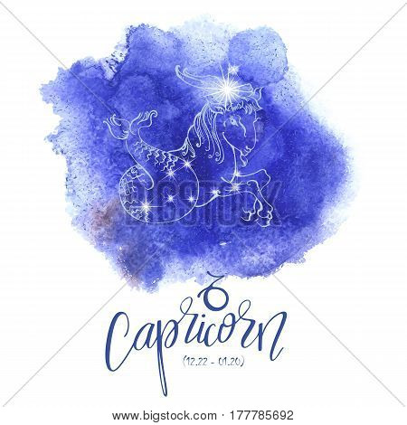 Astrology sign Capricorn on blue watercolor background with modern lettering. Zodiac constellation with  shiny star shapes. Part of zodiacal system and ancient calendar. Hand drawn horoscope illustration. Part of big collection