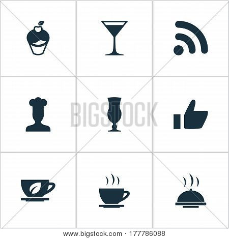 Vector Illustration Set Of Simple Restaurant Icons. Elements Gastronomy, Food Tray, Muffin And Other Synonyms Gastronomy, Muffin And Late.