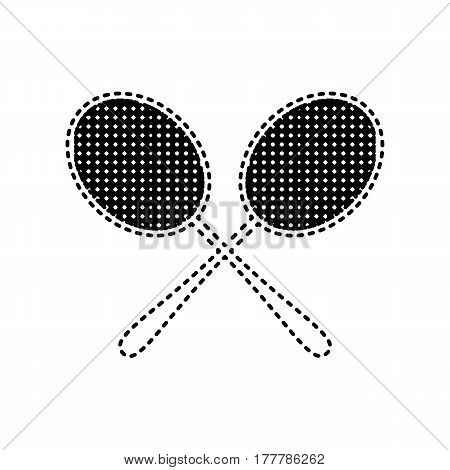 Tennis racquets sign. Vector. Black dashed icon on white background. Isolated.