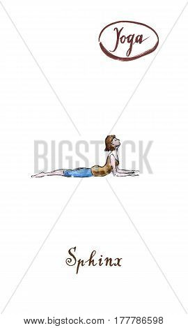 Young woman practicing yoga sitting in Sphinx Cobra exercise Ardha bhudjangasana pose watercolor hand drawn - Illustration