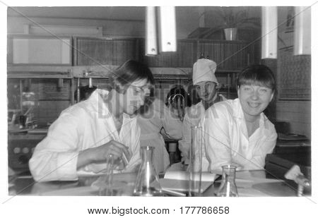 VITEBSK BELARUS - CIRCA 1986: Students of first year of Vitebsk of Order of Friendship of Peoples Medical Institute on lessons in classroom at department of inorganic chemistry (vintage black and white photo 1986) Belarus