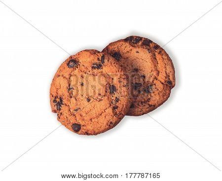 Two chocolate chip cookies isolated on white background. Two hazelnut cookies filled nougat with a clipping path.