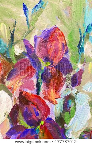 Painting Still Life Oil Painting Texture, Irises Impressionism Art