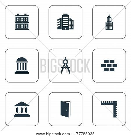 Vector Illustration Set Of Simple Structure Icons. Elements Structure, Length, Academy And Other Synonyms Hut, Estates And Building.
